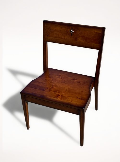 Wooden Zoe church chair made of alder wood - front view..