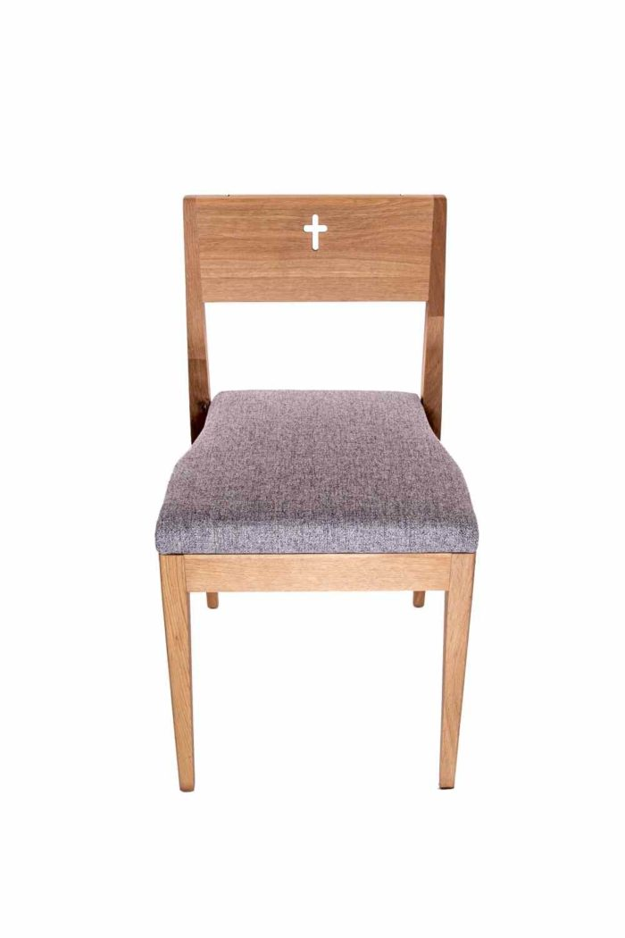 ZOE church chair wooden oak from behind