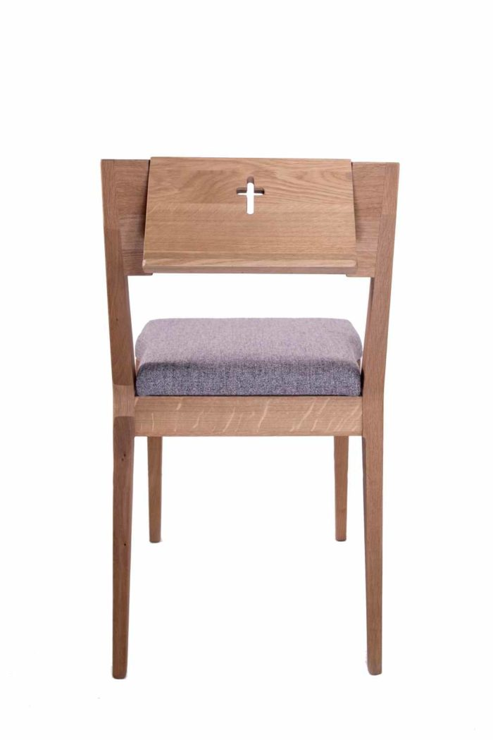 ZOE stacking church chair wooden oak from behind