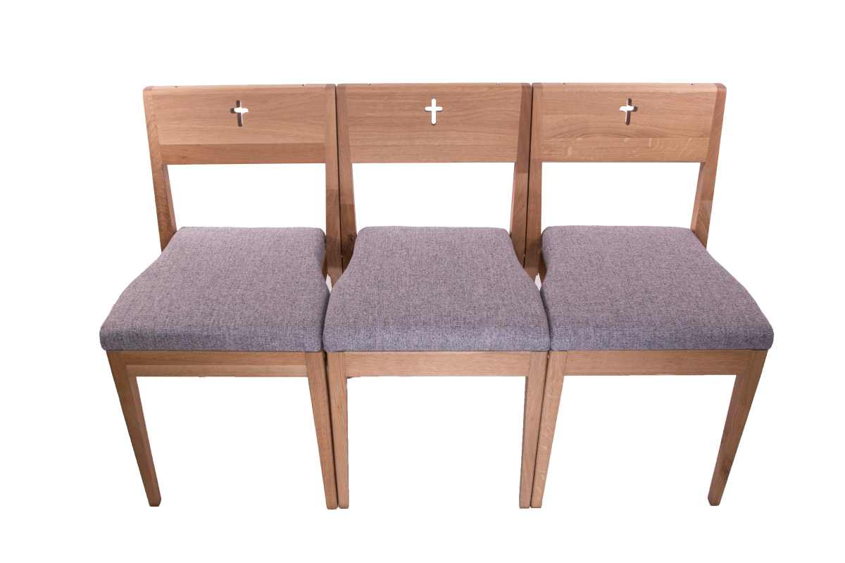 ZOE stackable church chair wooden oak from front