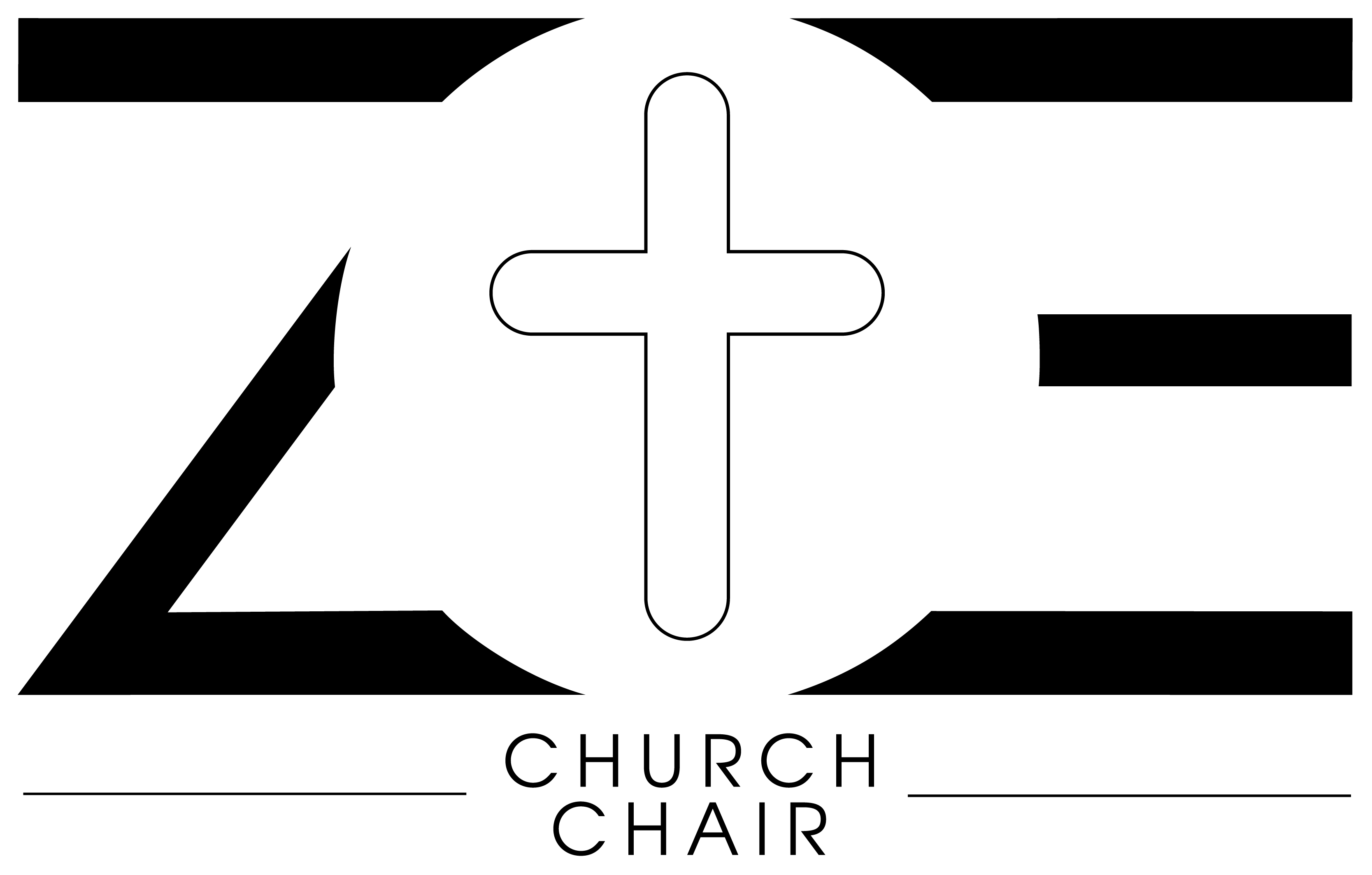 Logo ZOE church chair in black color on transparent back.