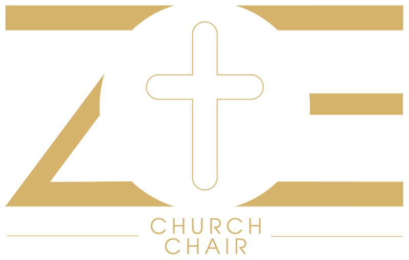 Logo ZOE church chair in golden color.